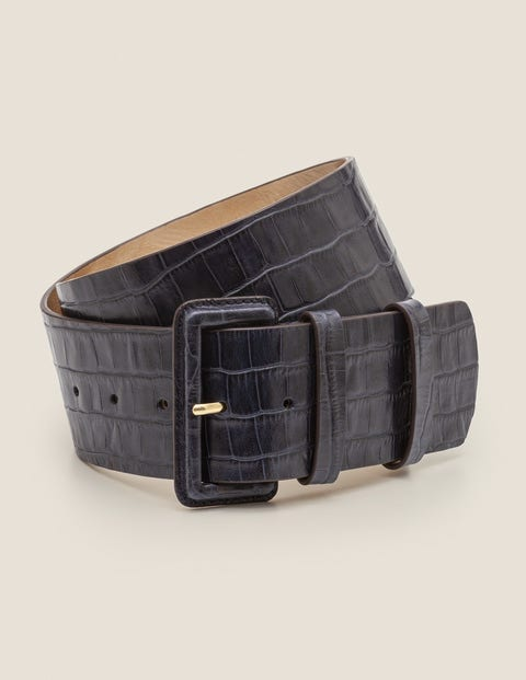 Wide Leather Belt - Navy Croc