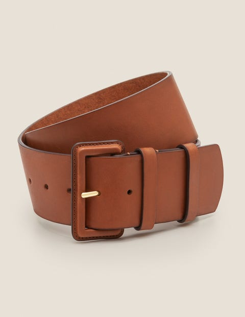 Wide Leather Belt - Tan