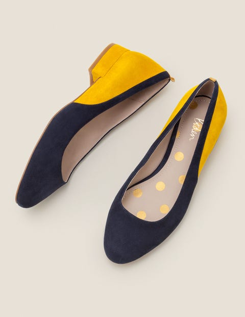 Cathy Low Heels - Navy/Saffron