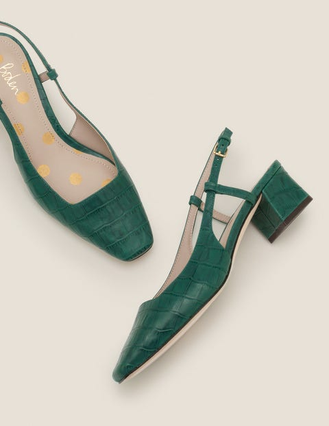 Kiera Heeled Slingbacks   Woodland Green Croc by Boden