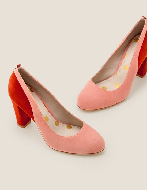 Cathy Block Heels - Dusky Rose/Conker