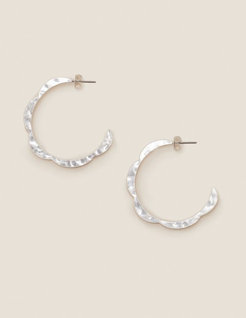 Scallop Hoops - Silver Metallic