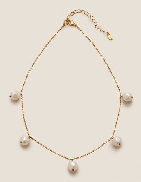 Glass Pearl Necklace - Gold Metallic