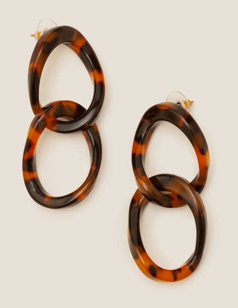 Resin Link Earrings - Brown Tortoiseshell