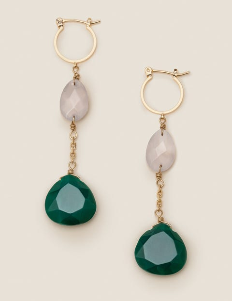 Semi-Precious Drop Earrings - Green Agate
