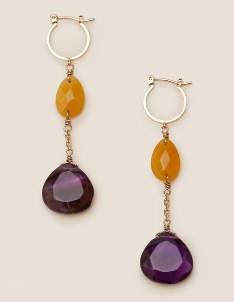 Semi-Precious Drop Earrings - Amethyst