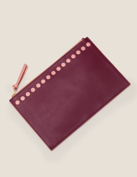 Large Leather Keepsake Pouch - Ruby Ring/Dusky Rose