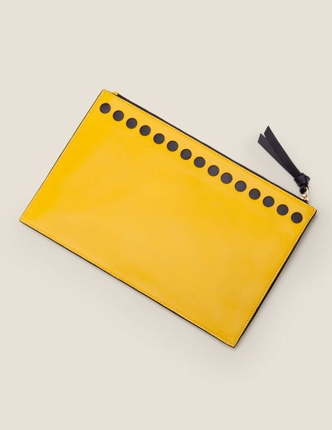 Large Leather Keepsake Pouch - Saffron/Navy
