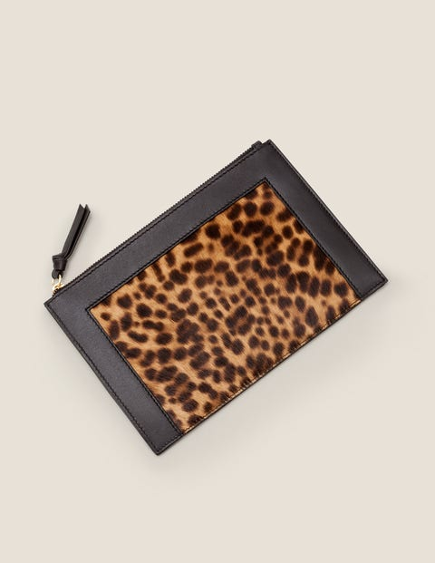 Leather Keepsake Pouch - Tan Leopard/Black