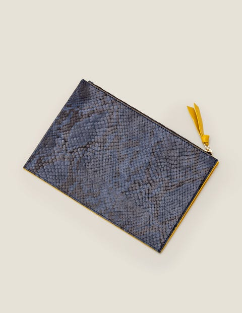 Leather Keepsake Pouch - Navy Snake
