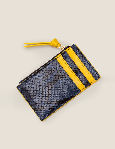 Leather Coin & Card Holder - Navy Snake