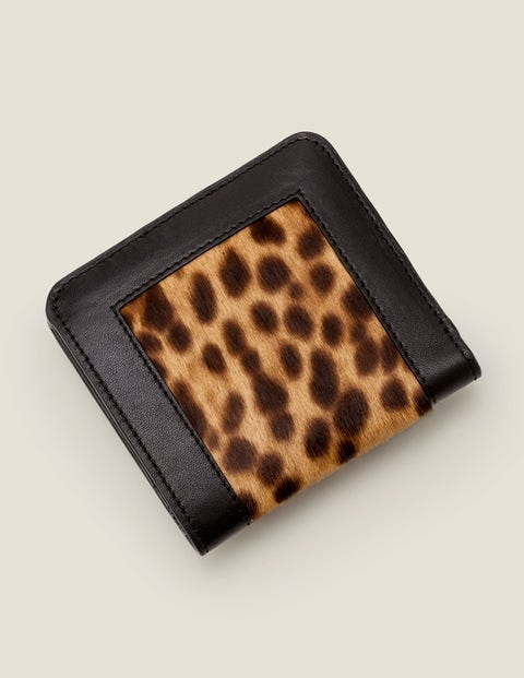 Leather Mini Zip Purse - Tan Leopard/Black
