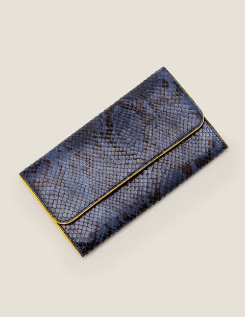 Leather Purse - Navy Snake