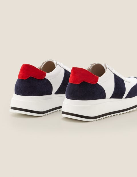 Platform Leather Trainers - White/Navy