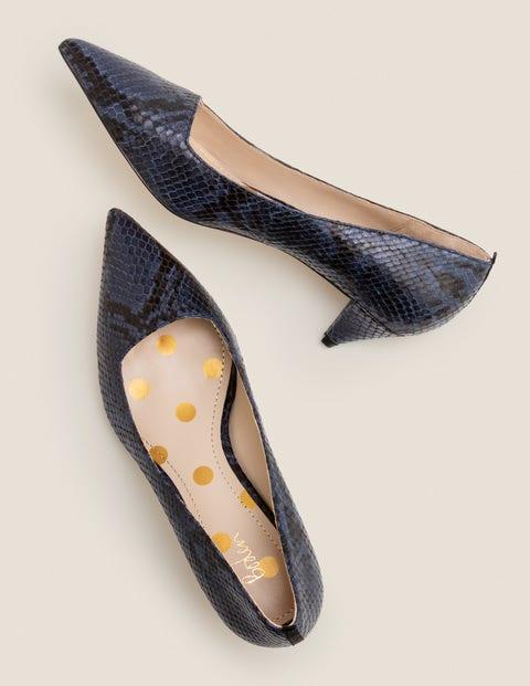 Chaussures À Petits Talons Dora - Serpent bleu marine