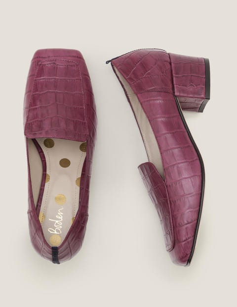 Carina Heeled Loafers - Ruby Ring Croc