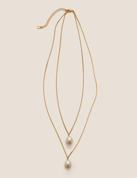 Glass Pearl Pendant - Gold Metallic