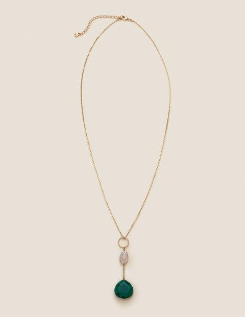 Lange Halskette Mit Halbedelsteinen - Grüner Achat