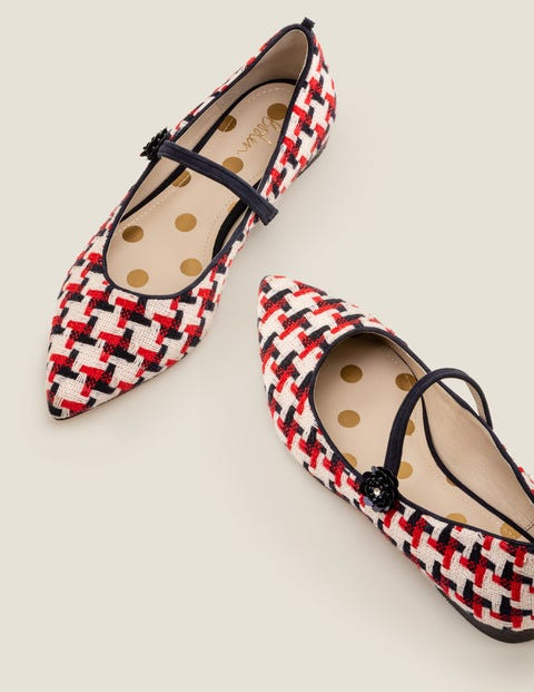 Hallie Embellished Flats - Navy/Red Windmill