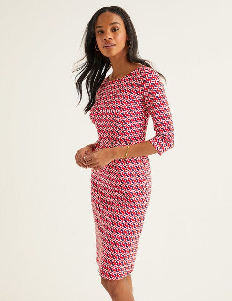 Penny Jersey Dress - Post Box Red, Dove Geo
