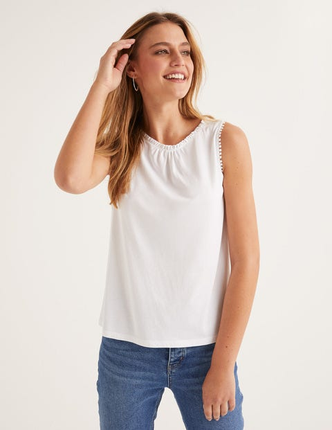 Frill Jersey Tank - White