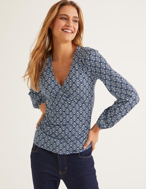 Elodie Jersey Wrap Top - Heritage Blue, Ornate Tile