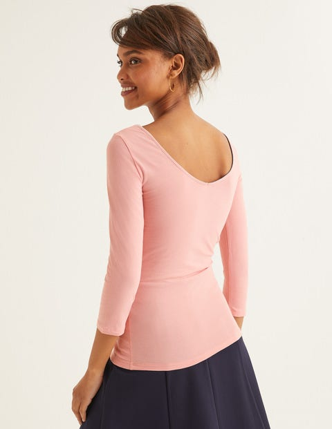 Double Layer Scoop Back Top - Chalky Pink