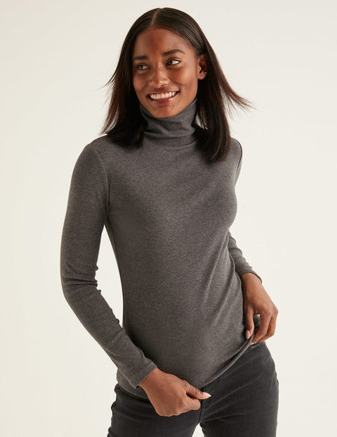 Essential Roll Neck Tee - Charcoal Marl