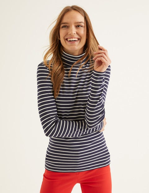 Essential Roll Neck - Navy/Ivory