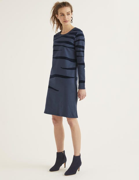 Sweatshirt Dress - Navy Flocked Zebra