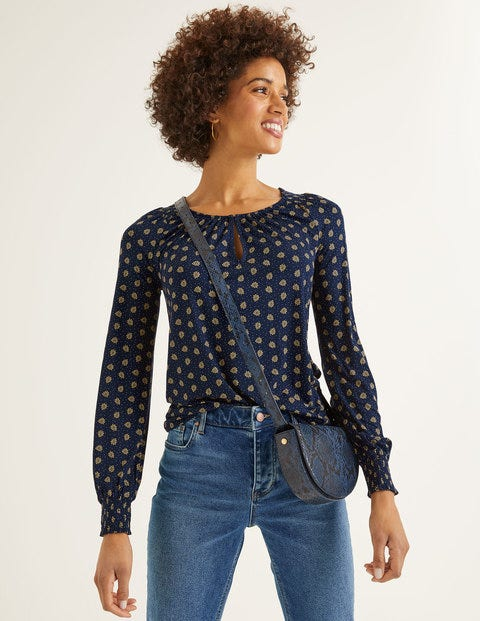 Vicky Jersey Top - Navy and Saffron, Block Stamp
