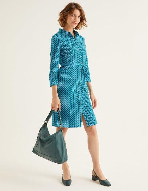 Tara Jersey Shirt Dress - Blue Lagoon, Petal Pantile