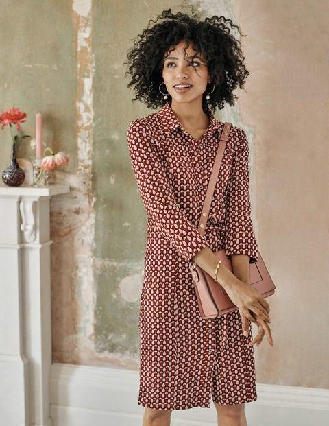 Tara Jersey Shirt Dress - Conker, Petal Pantile