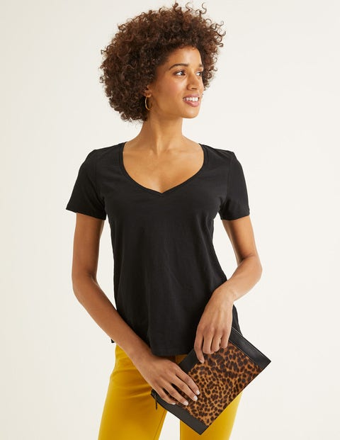 The Cotton V-Neck Tee - Black