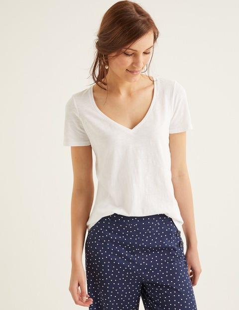 Das Baumwoll-T-Shirt mit V-Ausschnitt - Weiß