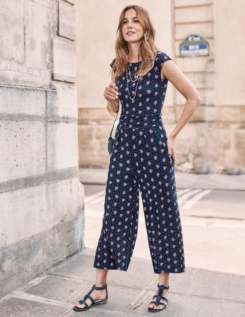 Luna Jersey Jumpsuit - French Navy, Block Stamp