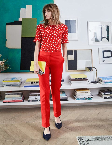 Bella Ponte Top - Post Box Red, Brand Polka Dot