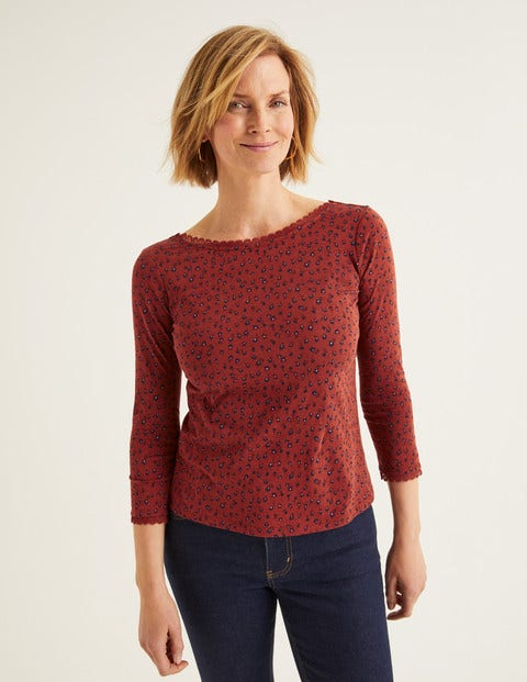 Ottilie Scoop Back Jersey Top - Conker, Ditsy Petal