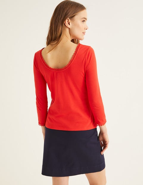 Ottilie Scoop Back Jersey Top - Post Box Red