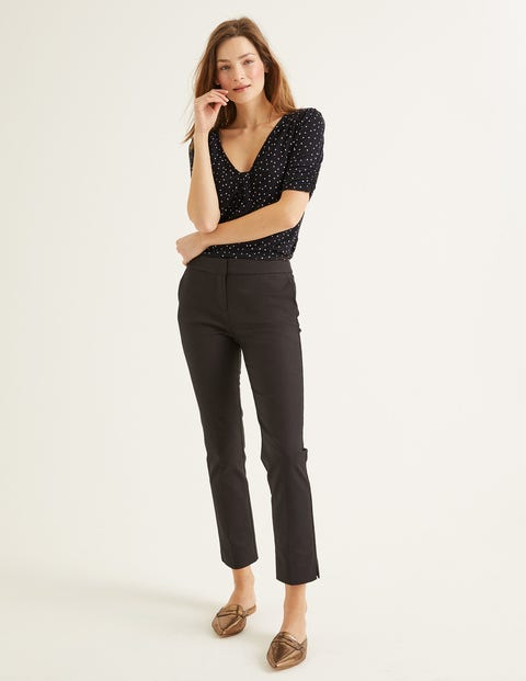 Jane Jersey Top - Black and Milkshake, Polka Dot