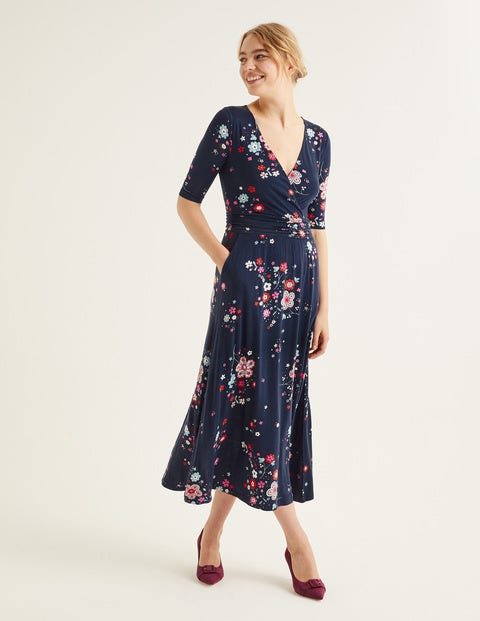 Carrie Jersey Midi Dress - Navy, Daydream