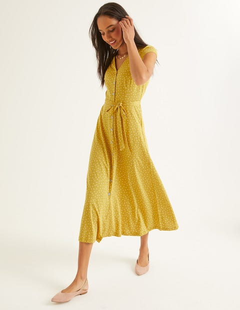 Frances Jersey Midi Dress - Saffron, Polka Dot