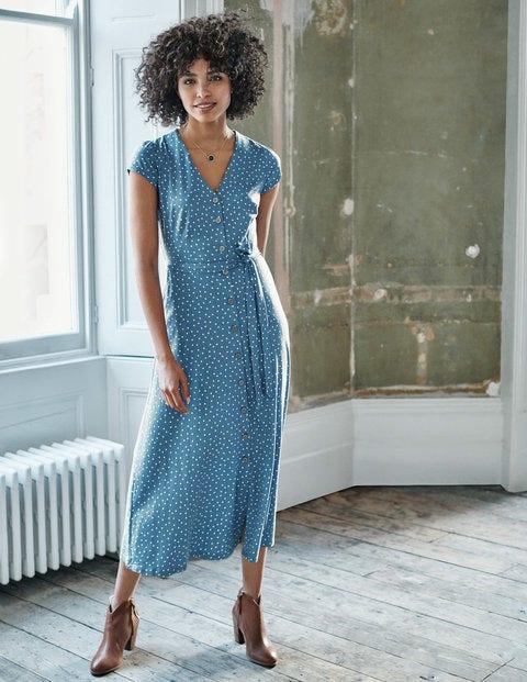 Frances Jersey Midi Dress - Horizon, Polka Dot