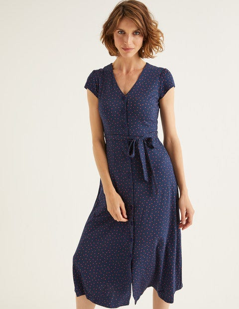 Frances Jersey Midi Dress - Navy, Polka Dot