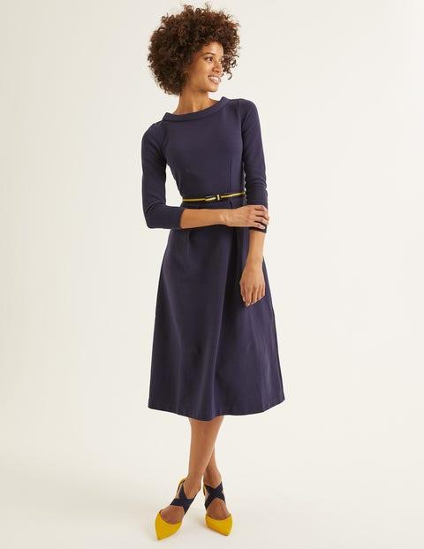 Violet Ottoman Dress - Navy