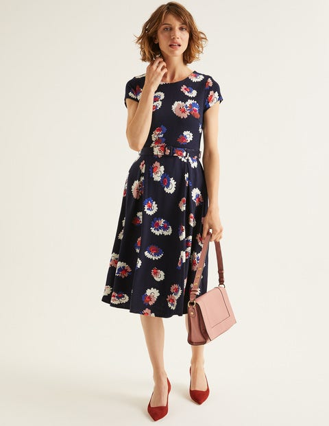 Aida Ponte Dress - French Navy, Painted Daisy