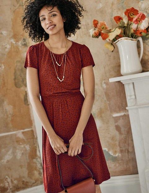 Evangeline Jersey Dress - Conker, Ditsy Petal