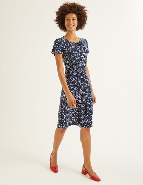 Evangeline Jersey Dress - Navy, Ditsy Petal