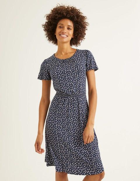 Evangeline Jersey Dress - Navy, Ditsy Petal