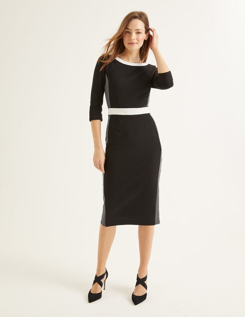 Leah Ottoman Dress - Black/Graphite